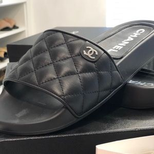 Chanel Black Leather Slides Shoes